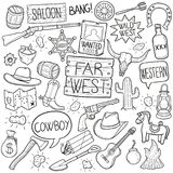 Far West Traditional Doodle Icons Sketch Hand Made Design Vector stock illustration