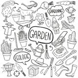 Garden Traditional Doodle Icons Sketch Hand Made Design Vector vector illustration