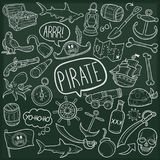 Pirate Adventure Traditional Doodle Icons Sketch Hand Made Design Vector vector illustration
