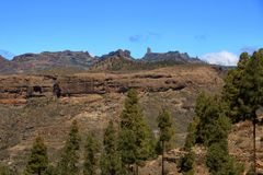 Emblematic Roque Nublo, symbolic natural monument of Gran canaria, Canary islands. In Spain royalty free stock images