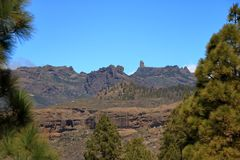 Emblematic Roque Nublo, symbolic natural monument of Gran canaria, Canary islands. In Spain stock images