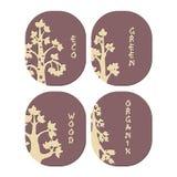 Emblematy drzewni Eco zielony organicznie drewno ilustracji