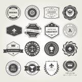 Emblematy, odznaki i stemplują set - nagrody i foka projekty ilustracja wektor