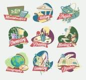 Emblematy szkolni tematy royalty ilustracja