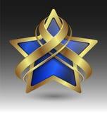 Embleme metálico elegante da estrela com enfeite Fotografia de Stock