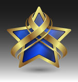 Embleme metallico elegante della stella con l'abbellimento Fotografia Stock