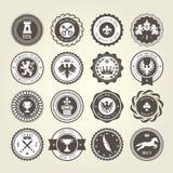 Emblemen, blazons en heraldische kentekens - ronde etiketten Royalty-vrije Stock Afbeeldingen