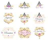Emblemen en geplaatste etikettenelementen Royalty-vrije Stock Foto's