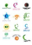 Emblemen met brief C Royalty-vrije Stock Foto