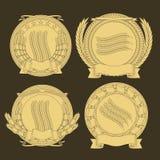Emblemen met en een kroon van tarwe beeld royalty-vrije illustratie