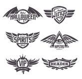 Emblemen met Geplaatste Vleugels Stock Foto
