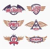 Emblemen met Geplaatste Vleugels Royalty-vrije Stock Foto's