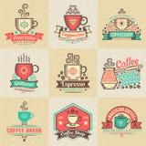 Emblemen met koffie Stock Foto's