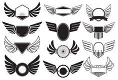 Emblemen met vleugels Stock Afbeeldingen