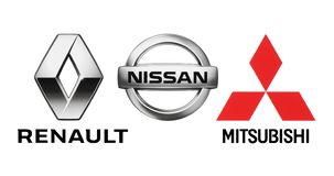 Emblemen van de alliantie van autofabrikanten: Renault, Nissan, Mitsubishi stock illustratie