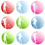 Emblemen van het Silhouet van Artsy de Vrouwelijke Stock Foto's