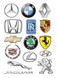 Emblemeninzameling van verschillende merken van auto's stock illustratie