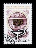 Emblemet ägnade 75 år av det vetenskapliga forskningsinstitutet av oncology av P Herzen circa 1978 Arkivbilder