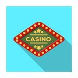 Emblemet av den spela klubban med inskriften av kasinot Kasino enkel symbol i plant materiel för stilvektorsymbol Arkivfoto