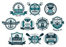 Emblemet in för rodern för havsankaret och fartygställde det nautiska royaltyfri illustrationer