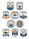 Emblemet för safari för den jaktsportklubban och afrikanen ställde in vektor illustrationer