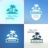 Emblemi con l'isola tropicale illustrazione di stock