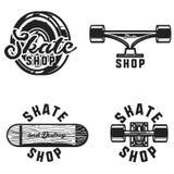 Emblemi d'annata del negozio del pattino illustrazione vettoriale