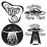 Emblemi d'annata del UFO Immagine Stock Libera da Diritti