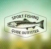 Emblemi d'annata di pesca della trota Immagini Stock