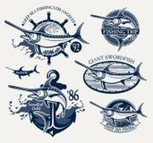 Emblemi d'annata di pesca marittima del pesce spada Fotografia Stock Libera da Diritti