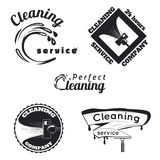 Emblemi d'annata di servizio di pulizia Fotografia Stock Libera da Diritti