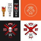 Emblemi del club di rissa per strada Immagini Stock