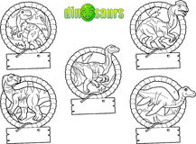 Emblemi del fumetto dei dinosauri Fotografia Stock