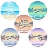 Emblemi della spiaggia di estate Fotografia Stock Libera da Diritti