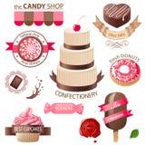 Emblemi delle caramelle e dei dolci Fotografia Stock Libera da Diritti