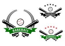 Emblemi di baseball con i pipistrelli attraversati Immagine Stock Libera da Diritti