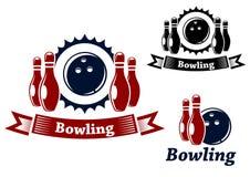 Emblemi di bowling con la palla ed i giochi dei birilli Fotografia Stock