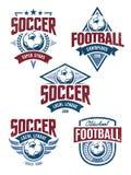 Emblemi di calcio di vettore Fotografia Stock Libera da Diritti