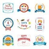Emblemi di celebrazione di festa messi royalty illustrazione gratis