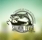 Emblemi di color salmone d'annata di pesca Fotografia Stock Libera da Diritti