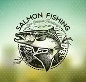 Emblemi di color salmone d'annata di pesca Immagini Stock Libere da Diritti
