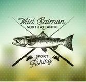 Emblemi di color salmone d'annata di pesca Immagini Stock