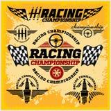 Emblemi di corsa di automobile e vettore della corsa di campionato Immagini Stock