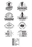 Emblemi di forma fisica e di culturismo Fotografia Stock Libera da Diritti