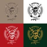 Emblemi di monocromio delle forze speciali Fotografie Stock