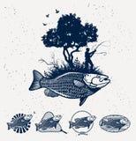 Emblemi di pesca marittima Immagini Stock