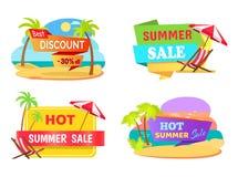 Emblemi di vendita di estate con le spiagge tropicali messe royalty illustrazione gratis