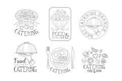 Emblemi disegnati a mano per i servizi d'approvvigionamento Logos monocromatico di vettore con alimento saporito, le mani con i v illustrazione di stock