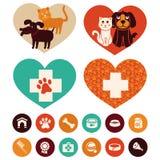 Emblemi e segni veterinari di vettore Immagini Stock Libere da Diritti