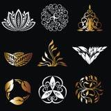 Emblemi floreali sul nero Elementi di progettazione del monogramma Immagine Stock